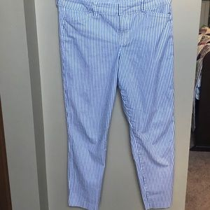 Navy/White striped Old Navy Pixie ankle pants